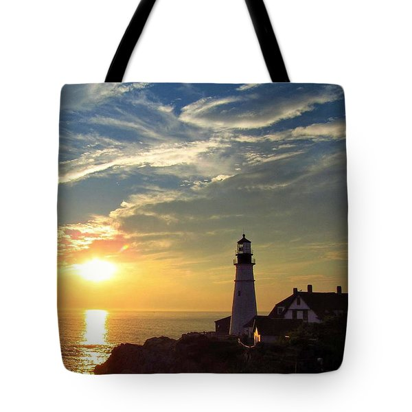 Portland Headlight Sunbeam Tote Bag
