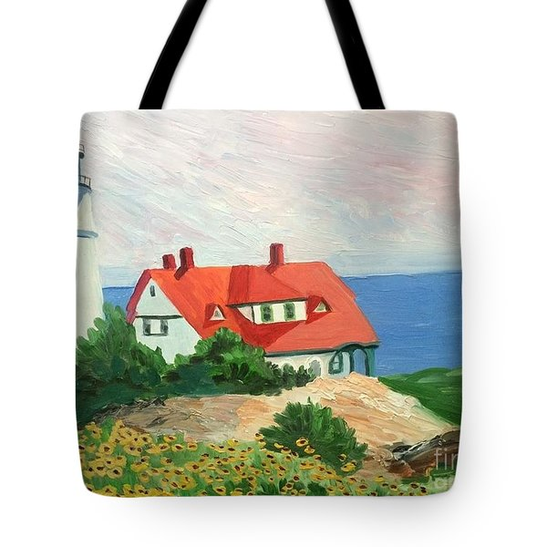 Portland Headlight With Brown Eyed Susans Tote Bag