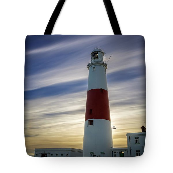 Portland Lighthouse At Sunset Tote Bag