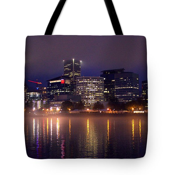 Portland Night Skyline Tote Bag by Joseph Skompski