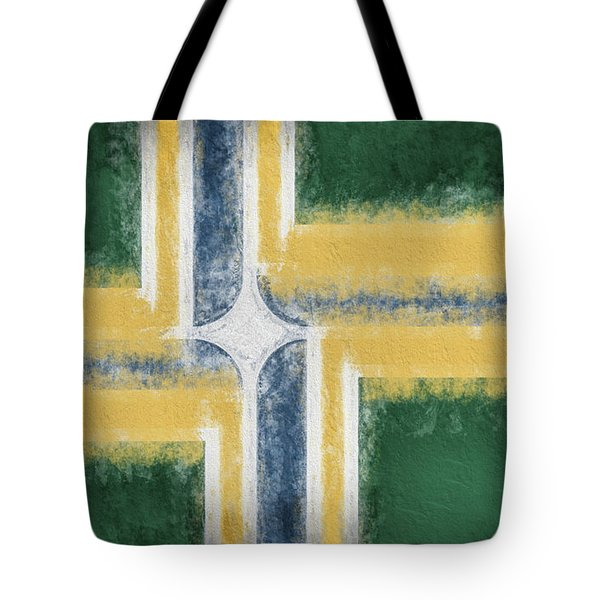 Tote Bag featuring the digital art Portland Oregon City Flag by JC Findley