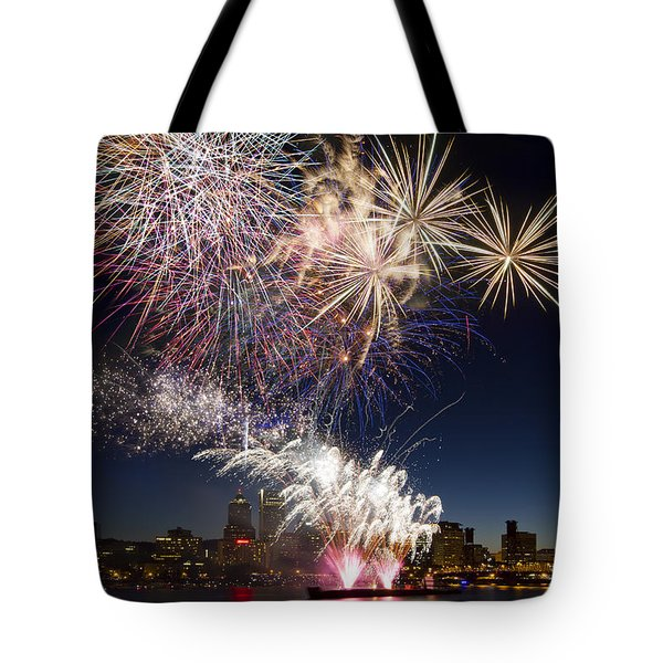 Portland Oregon Fireworks Tote Bag by David Gn
