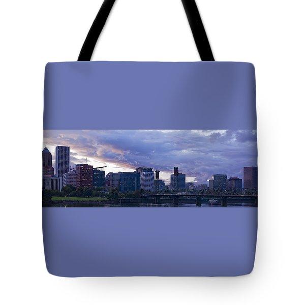 Tote Bag featuring the photograph Portland Oregon Panorama by Jonathan Davison