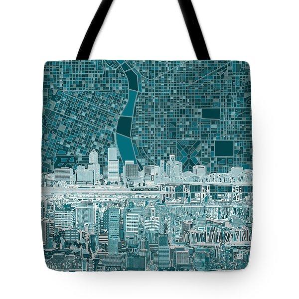 Portland Skyline Abstract 10 Tote Bag
