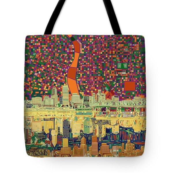 Portland Skyline Abstract 3 Tote Bag
