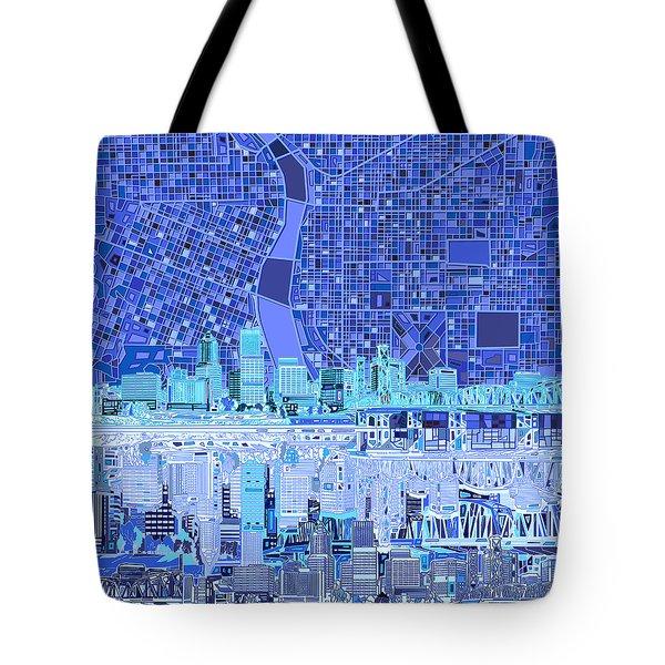 Portland Skyline Abstract 5 Tote Bag