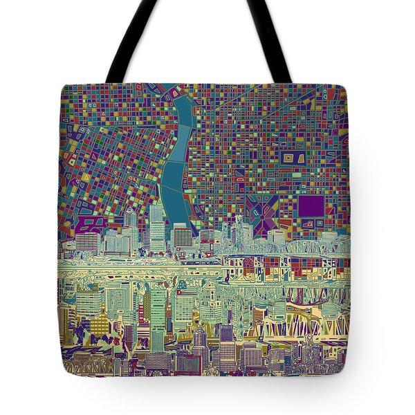 Portland Skyline Abstract 7 Tote Bag