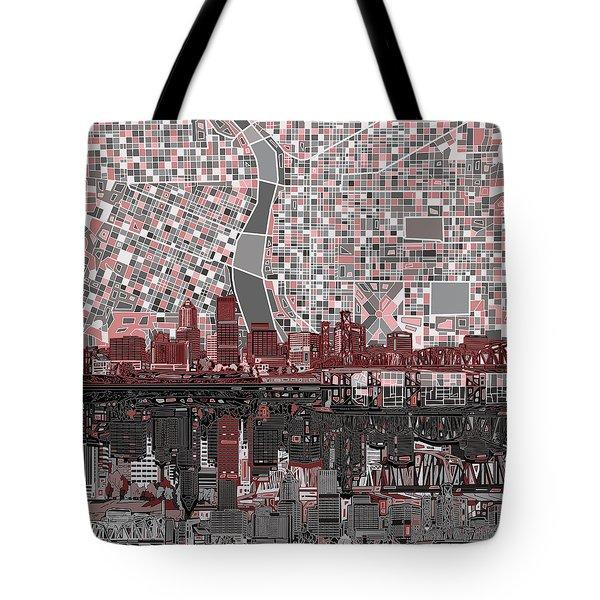 Portland Skyline Abstract 8 Tote Bag
