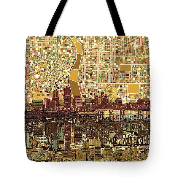 Portland Skyline Abstract 9 Tote Bag