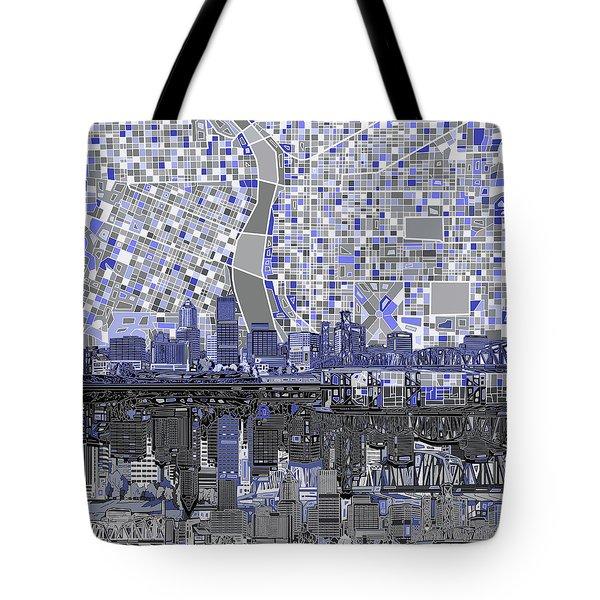 Portland Skyline Abstract Nb Tote Bag by Bekim Art