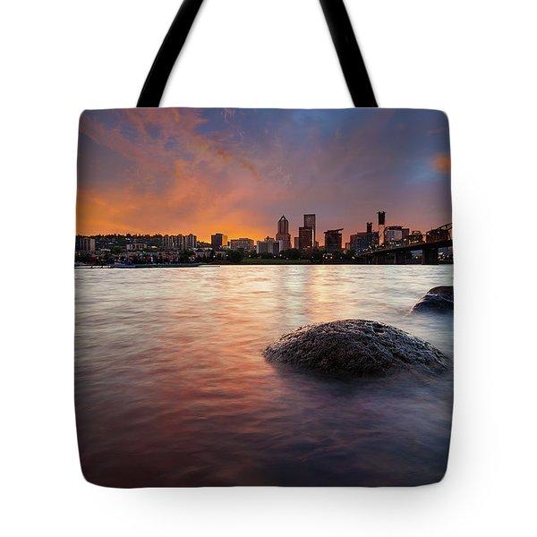 Portland Skyline Along Willamette River At Sunset Tote Bag