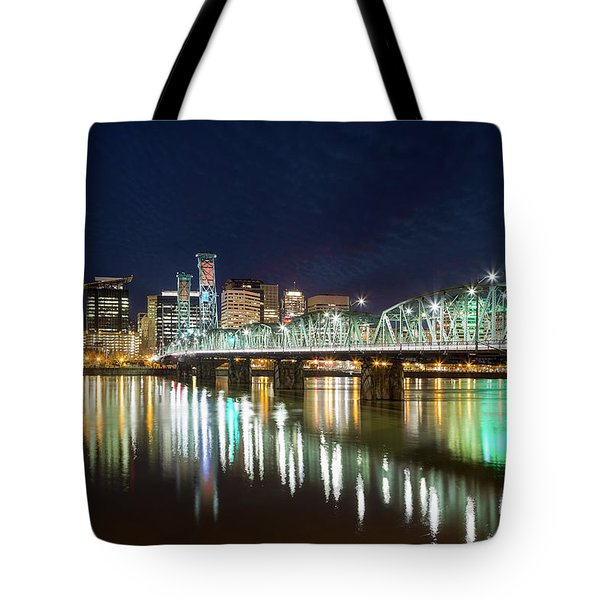 Portland Skyline By Hawthorne Bridge At Night Tote Bag by David Gn