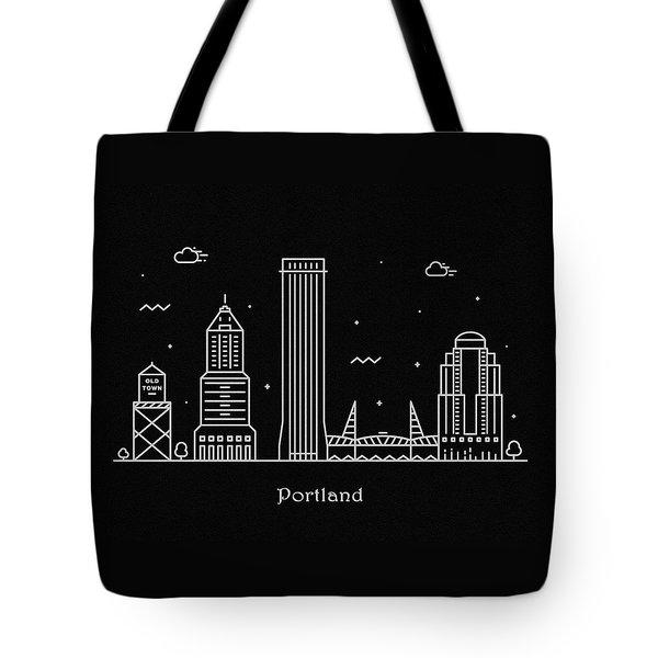 Portland Skyline Travel Poster Tote Bag
