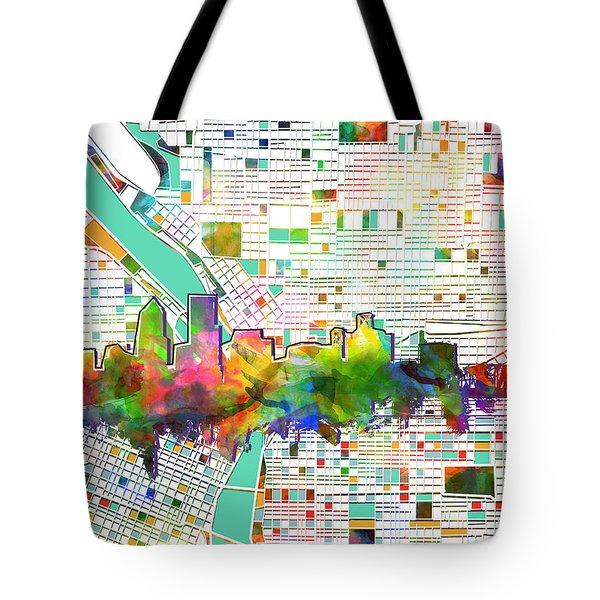 Portland Skyline Watercolor 2 Tote Bag