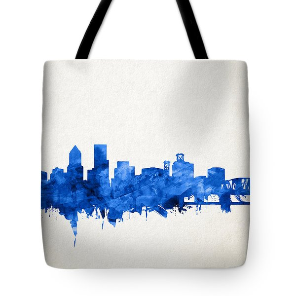 Portland Skyline Watercolor 4 Tote Bag
