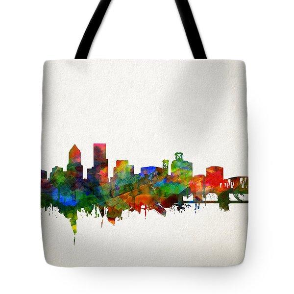 Portland Skyline Watercolor 5 Tote Bag