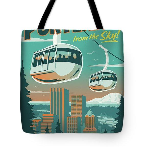 Portland Tram Retro Travel Poster Tote Bag