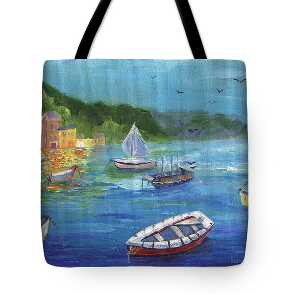 Tote Bag featuring the painting Portofino, Italy by Jamie Frier