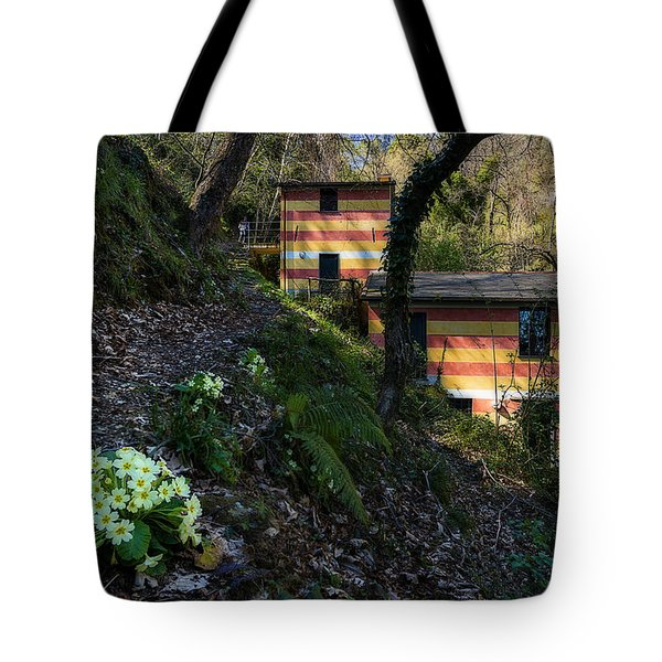 Tote Bag featuring the photograph Portofino Mills Valley Walk With Flowers by Enrico Pelos