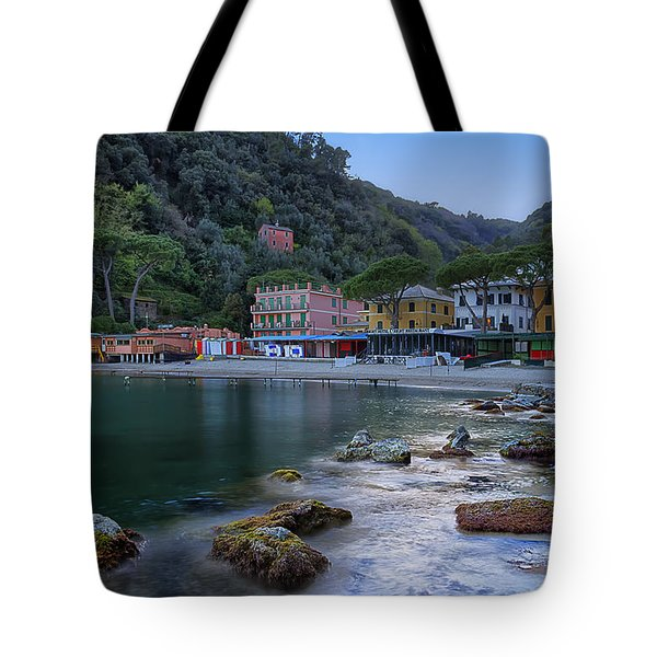 Tote Bag featuring the photograph Portofino Mills Valley With Paraggi Bay And Beach by Enrico Pelos