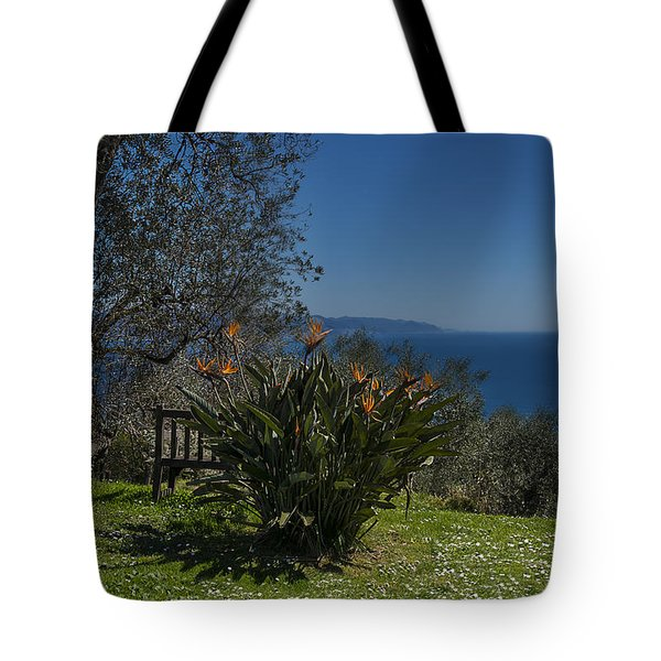Tote Bag featuring the photograph Portofino Mount Flowers Liguria Seascape Panorama by Enrico Pelos
