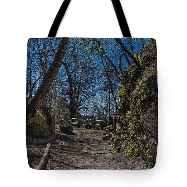 Tote Bag featuring the photograph Portofino Mount Hiking Itinerary Pass by Enrico Pelos