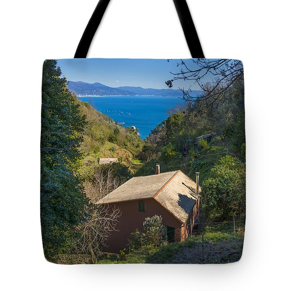 Portofino Mount Valley With Liguria Seascape Tote Bag