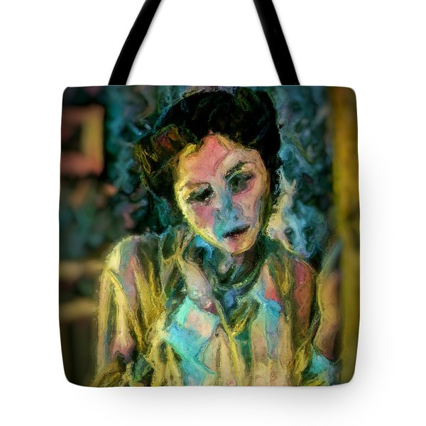 Portrait Colorful Female Wistfully Thoughtful Pastel Tote Bag