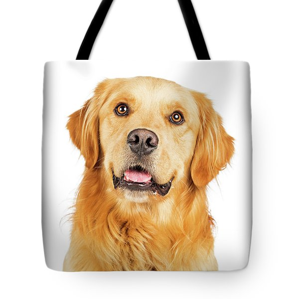 Portrait Happy Purebred Golden Retriever Dog Tote Bag