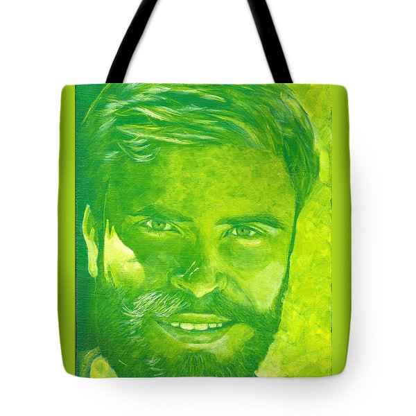 Portrait In Green Tote Bag