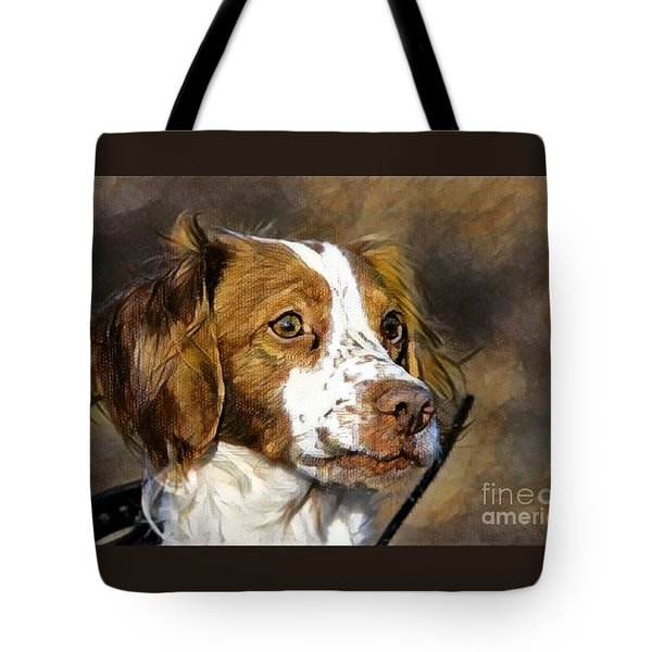 Tote Bag featuring the photograph Portrait Of A Brittany - D009983-a by Daniel Dempster
