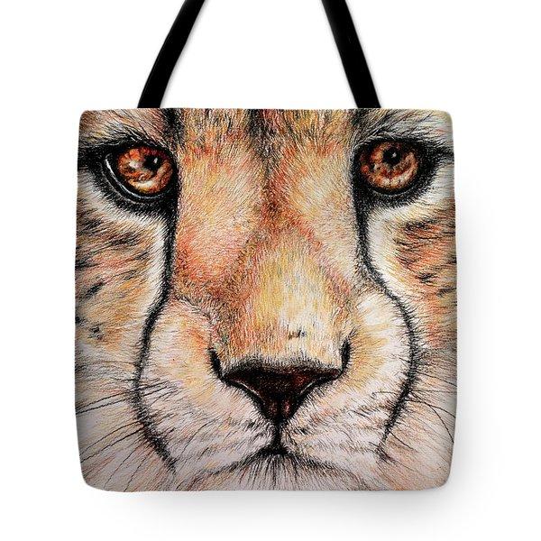 Portrait Of A Cheetah Tote Bag by Heidi Kriel