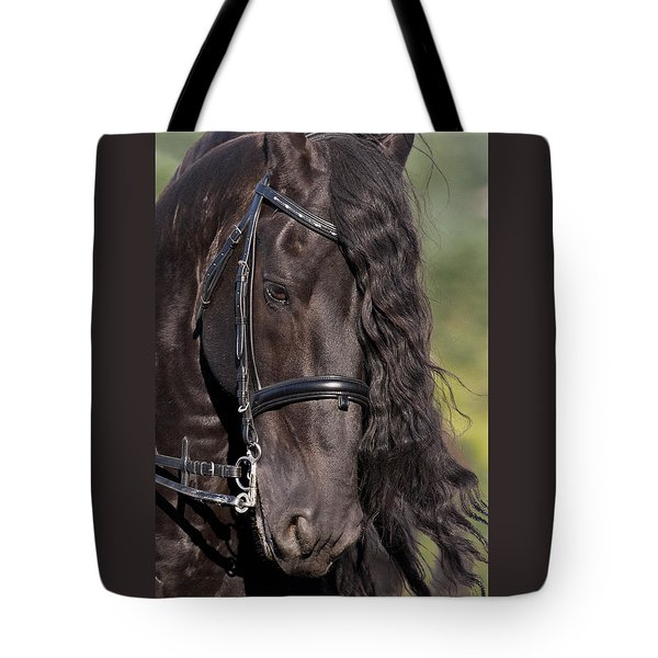 Portrait Of A Friesian Tote Bag by Wes and Dotty Weber