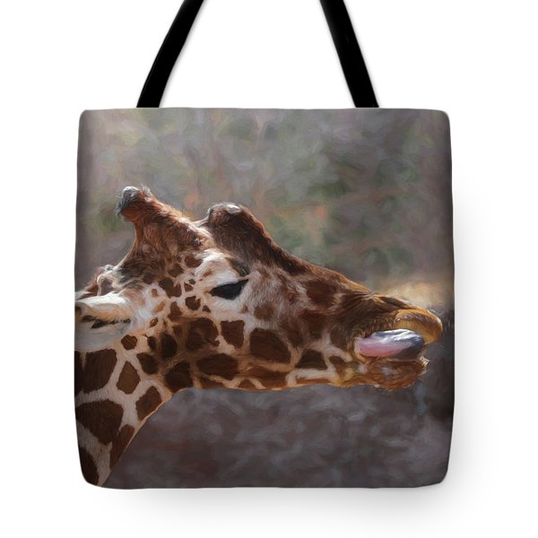 Tote Bag featuring the digital art Portrait Of A Giraffe by Ernie Echols