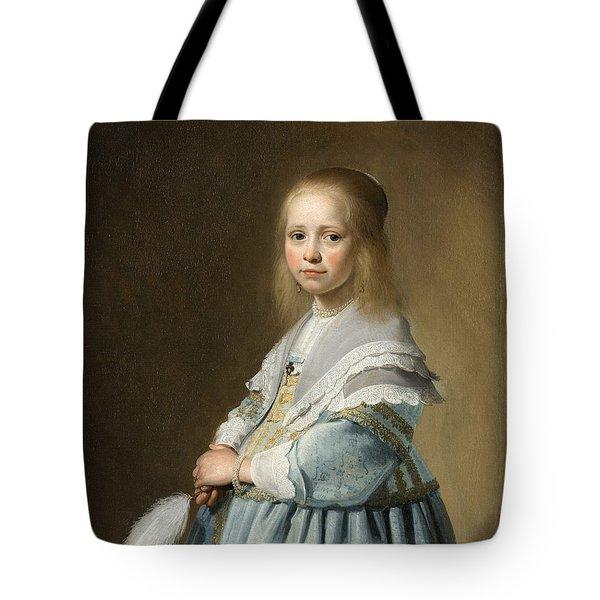 Portrait Of A Girl Dressed In Blue By J. Cornelisz Tote Bag