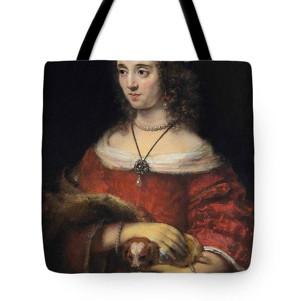 Portrait Of A Lady With A Lap Dog Tote Bag
