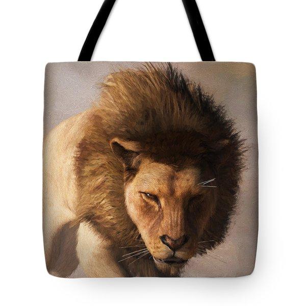 Tote Bag featuring the digital art Portrait Of A Lion by Daniel Eskridge