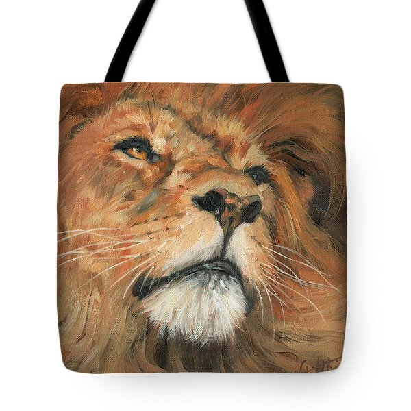 Tote Bag featuring the painting Portrait Of A Lion by David Stribbling