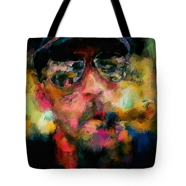 Portrait Of A Man In Sunglass Smoking A Cigar In The Sunshine Wearing A Hat And Riding A Motorcycle In Pink Green Yellow Black Blue Oil Paint With Raking Light To Pick Up Paint Texture Tote Bag by MendyZ