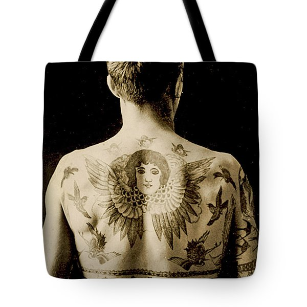 Portrait Of A Man With An Elaborate Back Piece Tattoo Tote Bag