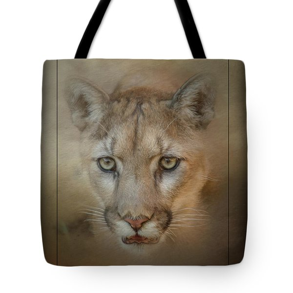 Tote Bag featuring the mixed media Portrait Of A Mountain Lion by Teresa Wilson