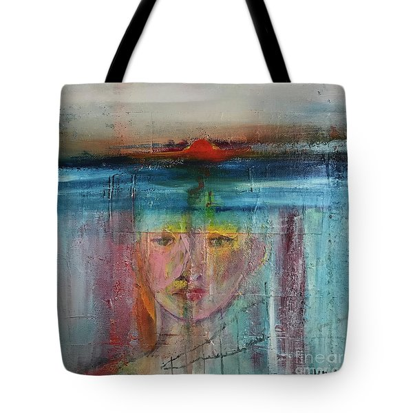 Tote Bag featuring the painting Portrait Of A Refugee by Kim Nelson