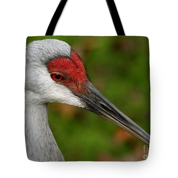 Portrait Of A Sandhill Crane Tote Bag