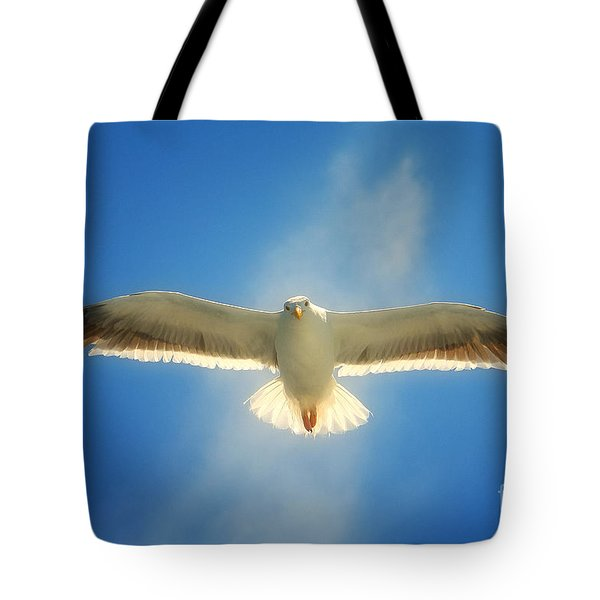 Tote Bag featuring the photograph Portrait Of A Seagull by John A Rodriguez