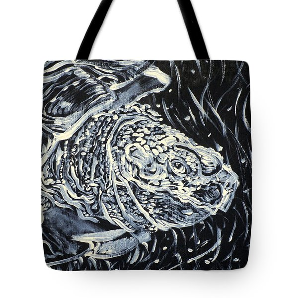 Tote Bag featuring the painting Portrait Of A Turtle by Fabrizio Cassetta