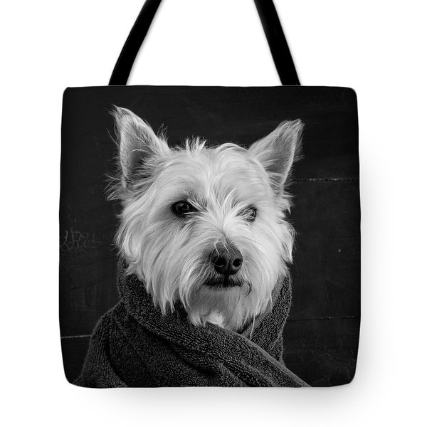 Tote Bag featuring the photograph Portrait Of A Westie Dog 8x10 Ratio by Edward Fielding