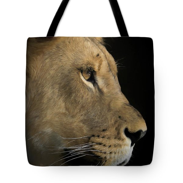 Tote Bag featuring the digital art Portrait Of A Young Lion by Ernie Echols
