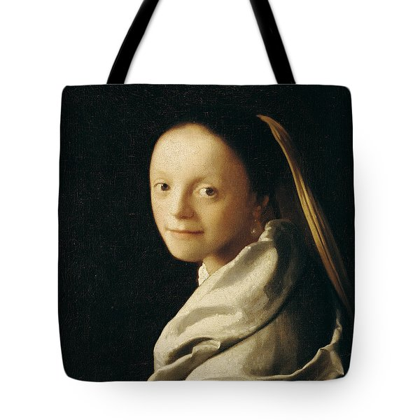 Portrait Of A Young Woman Tote Bag by Jan Vermeer