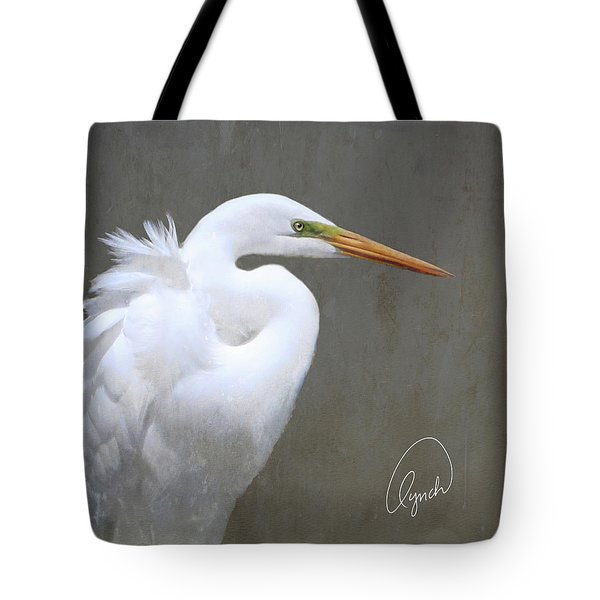 Portrait Of An Egret Signed Tote Bag