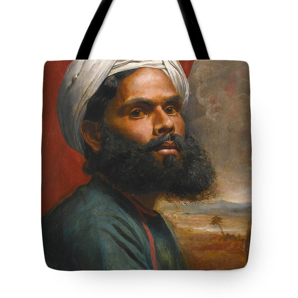 Tote Bag featuring the painting Portrait Of An Indian Sardar by Edwin Frederick Holt